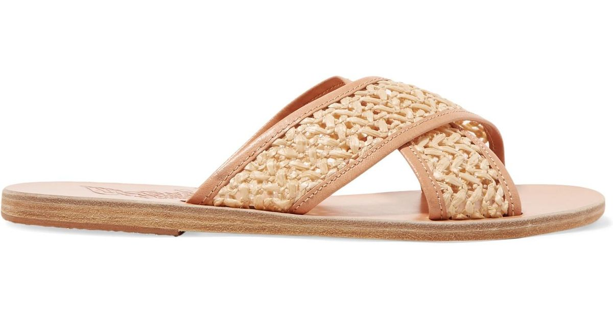 Thais Woven Raffia And Leather Slides - Neutral Ancient Greek Sandals gtZUWds0E
