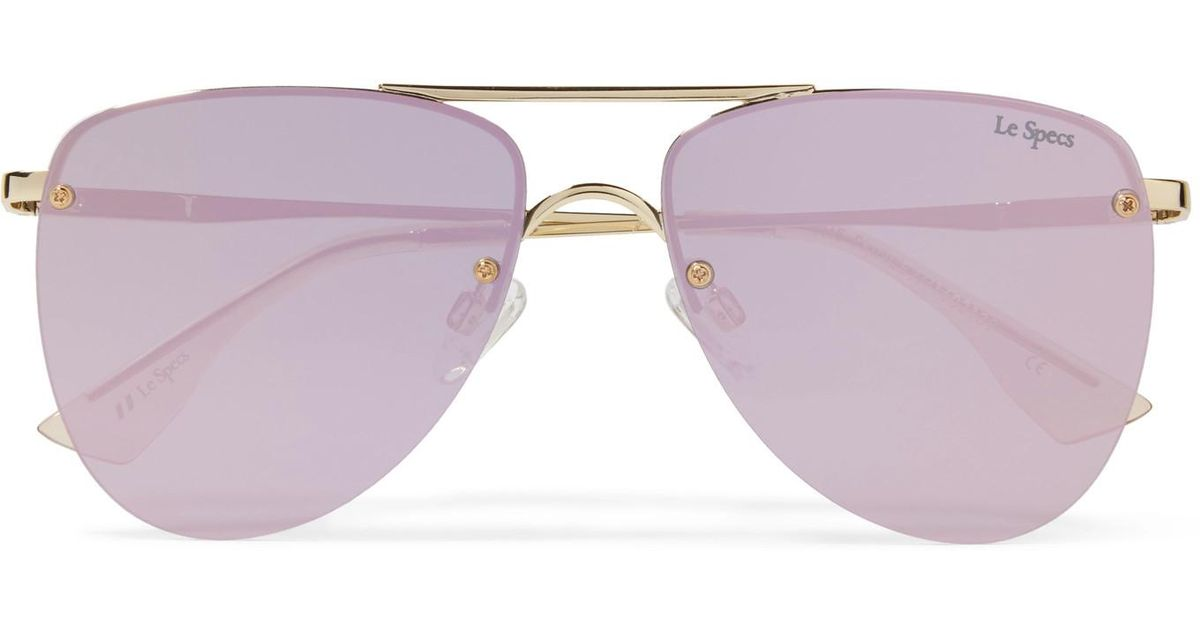 606d2d0232 Le Specs The Prince Aviator-style Gold-tone Mirrored Sunglasses in Metallic  - Lyst