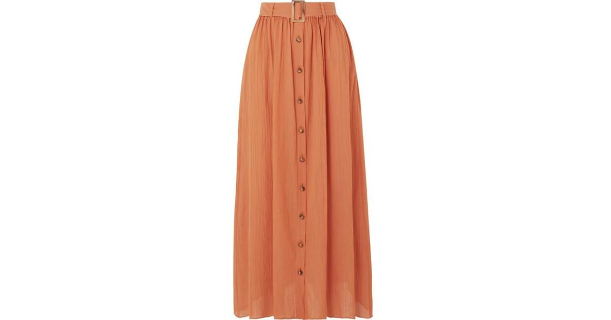 5413c0115d Lisa Marie Fernandez Belted Cotton-gauze Maxi Skirt in Orange - Save 28% -  Lyst