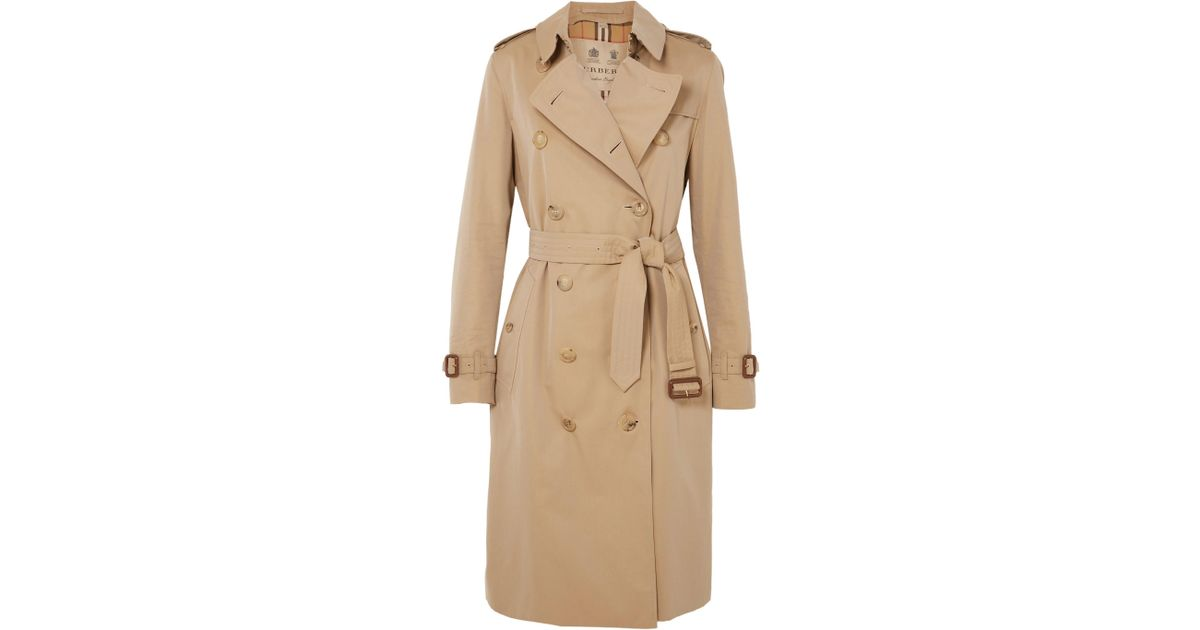 3d7478c7e6a2 Lyst - Burberry The Kensington Long Cotton-gabardine Trench Coat in Natural  - Save 12%