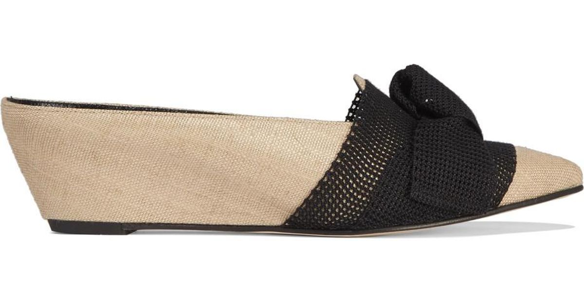 Adrien Bow-embellished Mesh And Jute Wedge Slippers - Neutral Trademark