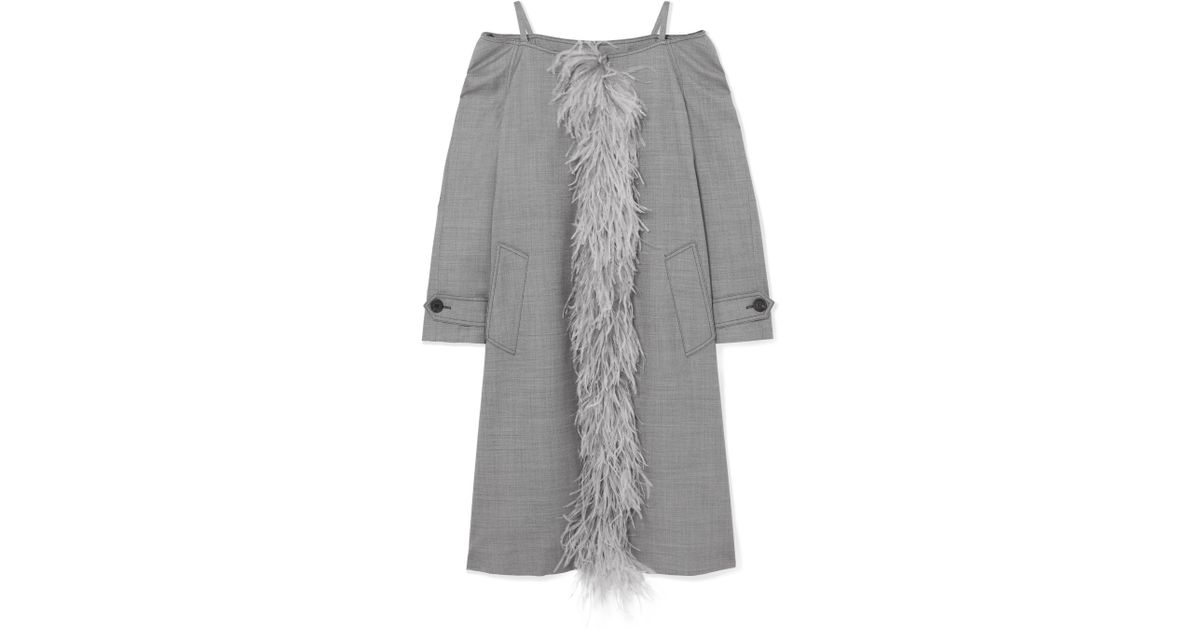 b6cc5636e6c64 Lyst - Prada Cold-shoulder Feather-trimmed Wool-blend Coat in Gray