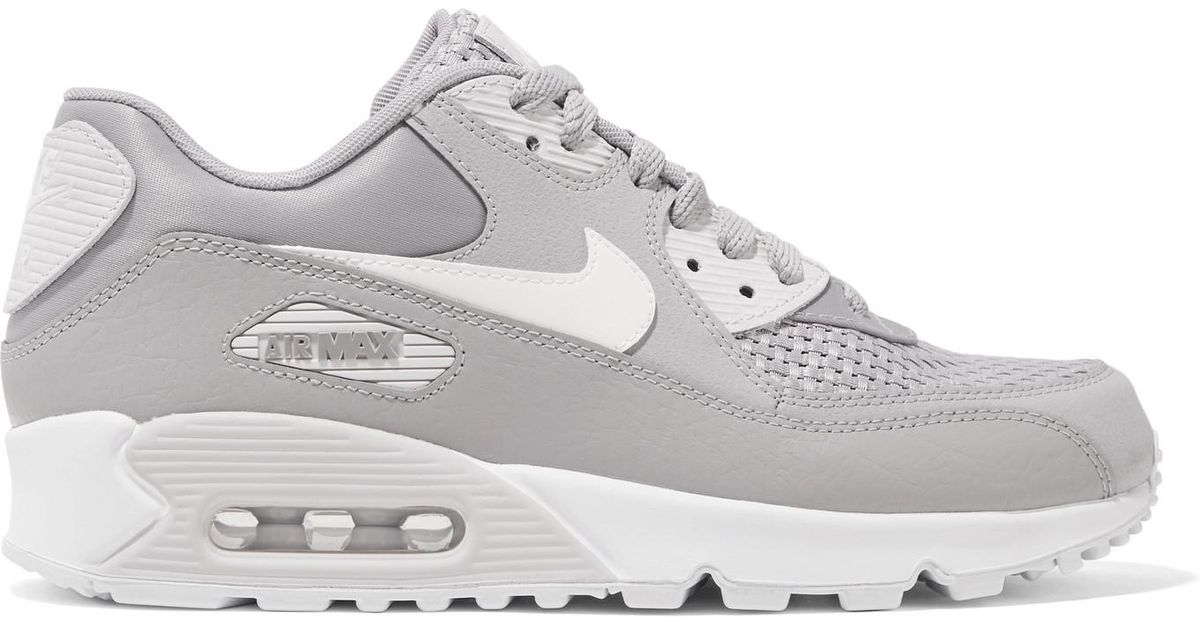 060fc98024 Nike Air Max 90 Se Stretch-knit, Suede, Leather And Mesh Sneakers in Gray -  Lyst