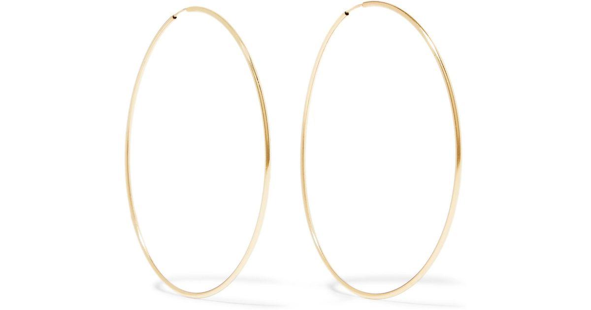 Lyst Loren Stewart Infinity 10 Karat Gold Hoop Earrings In Metallic