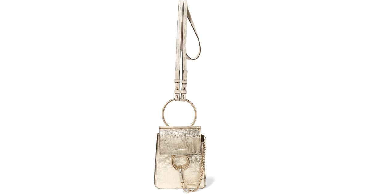 bf24bb006b339 Chloé Faye Bracelet Mini Metallic Cracked-leather Shoulder Bag in Metallic  - Lyst
