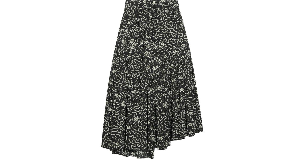 durable in use latest design price Isabel Marant Black Grifol Printed Silk-blend Wrap Midi Skirt