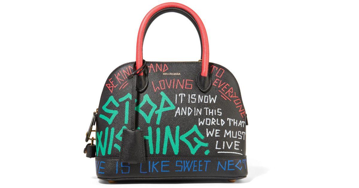 Ville Graffiti Small Printed Textured-leather Tote - Black Balenciaga ieayTy