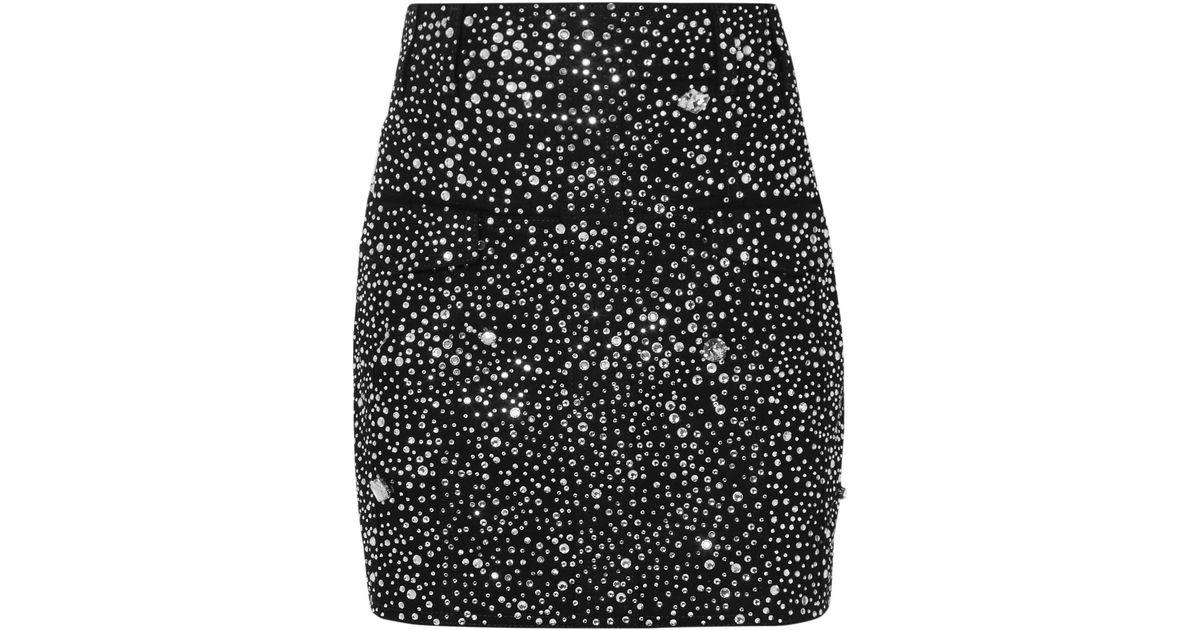baf5ce6f33 Balmain Crystal-embellished Denim Mini Skirt in Black - Lyst