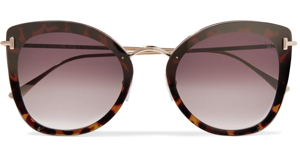 a122a091d007 Lyst - Tom Ford Cat-eye Tortoiseshell Acetate And Gold-tone Sunglasses