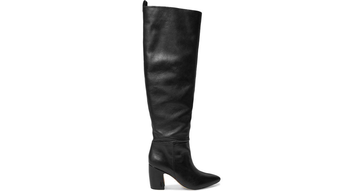 a7b56cb92192 Sam Edelman Hutton Leather Knee Boots in Black - Lyst
