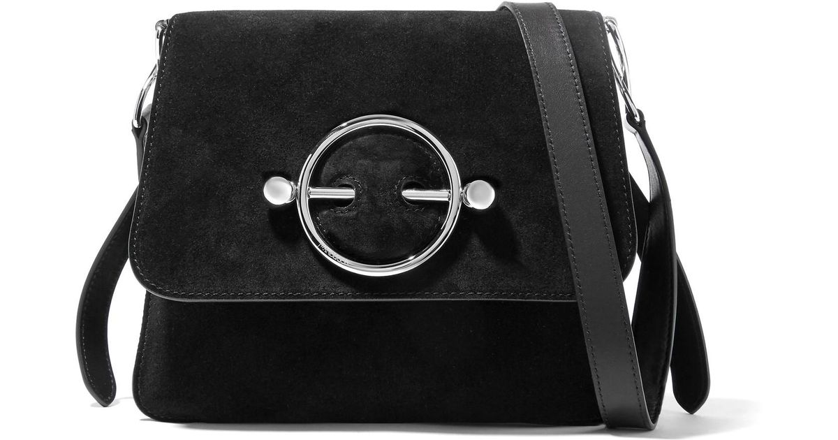Disc Suede And Leather Shoulder Bag - Black J.W.Anderson