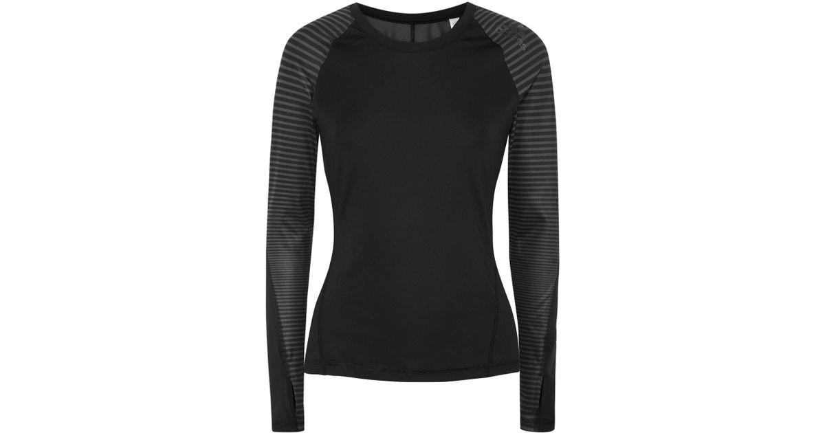 94970c383d661 Lyst - Adidas Originals Alphaskin Printed Climacool Stretch Top in Black