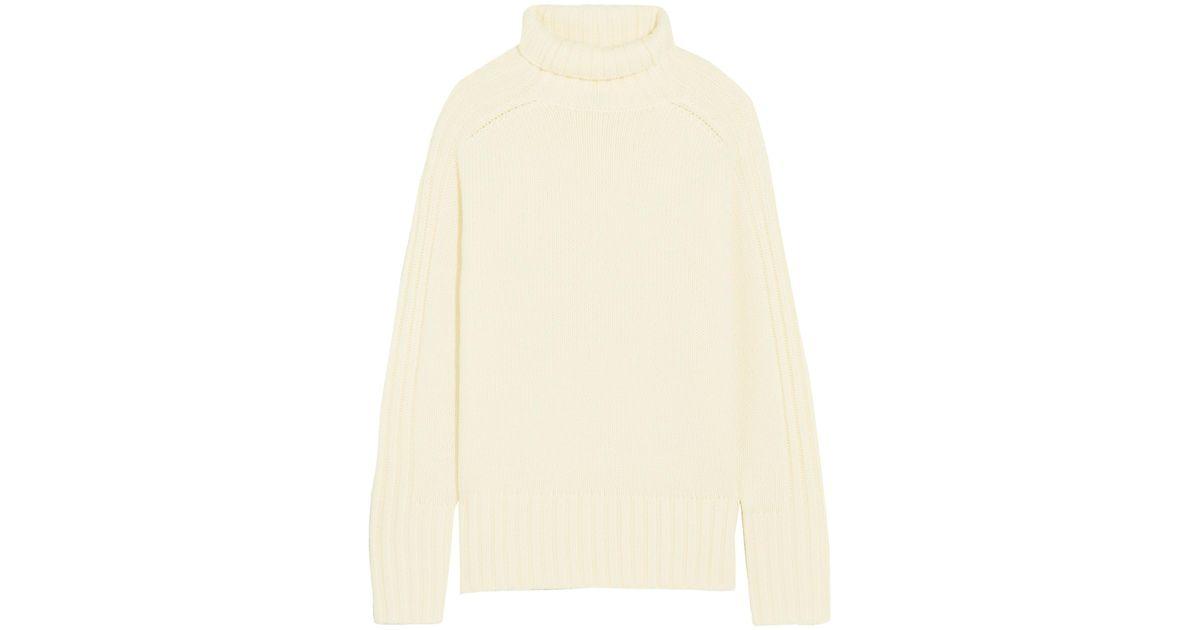 Lyst Joseph Ribbed Merino Wool Turtleneck Sweater In Natural