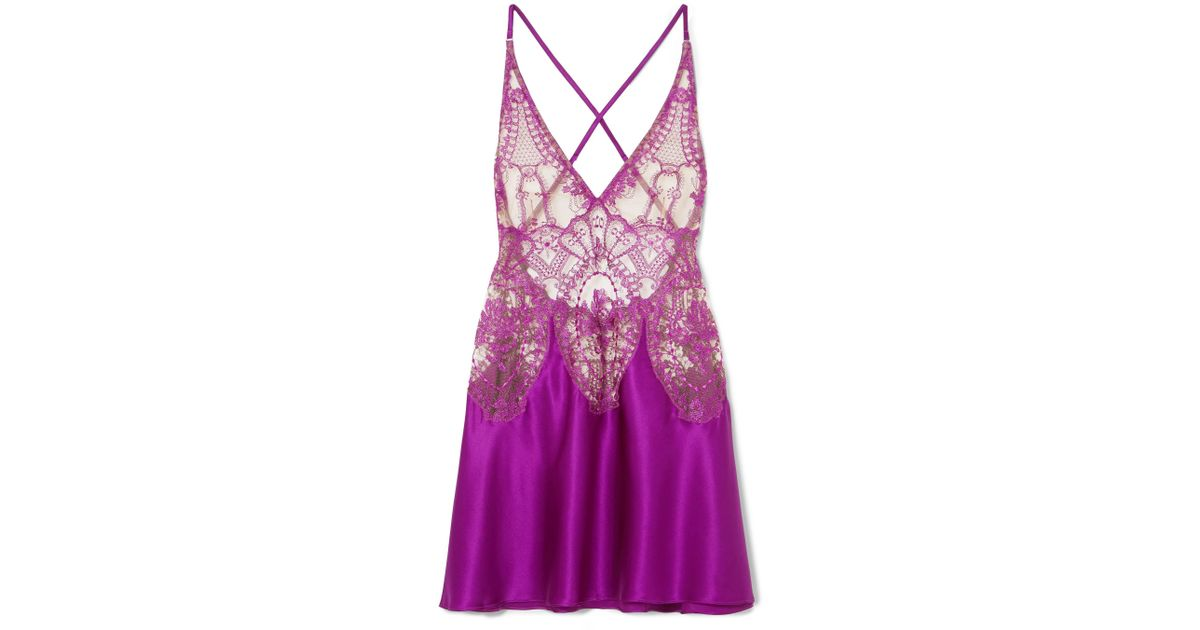 944de3f31c I.D Sarrieri Coup De Foudre Embroidered Tulle And Silk-blend Satin Chemise  in Purple - Lyst