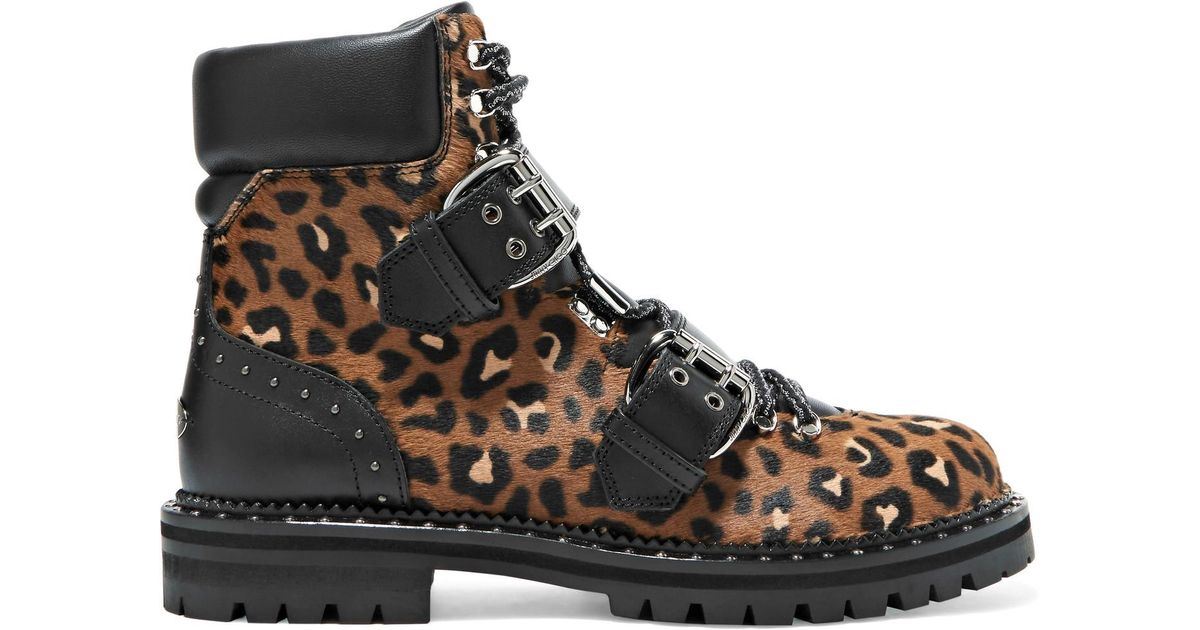 46e9da29930 coupon code for lyst jimmy choo breeze studded leather trimmed leopard  print calf hair ankle boots
