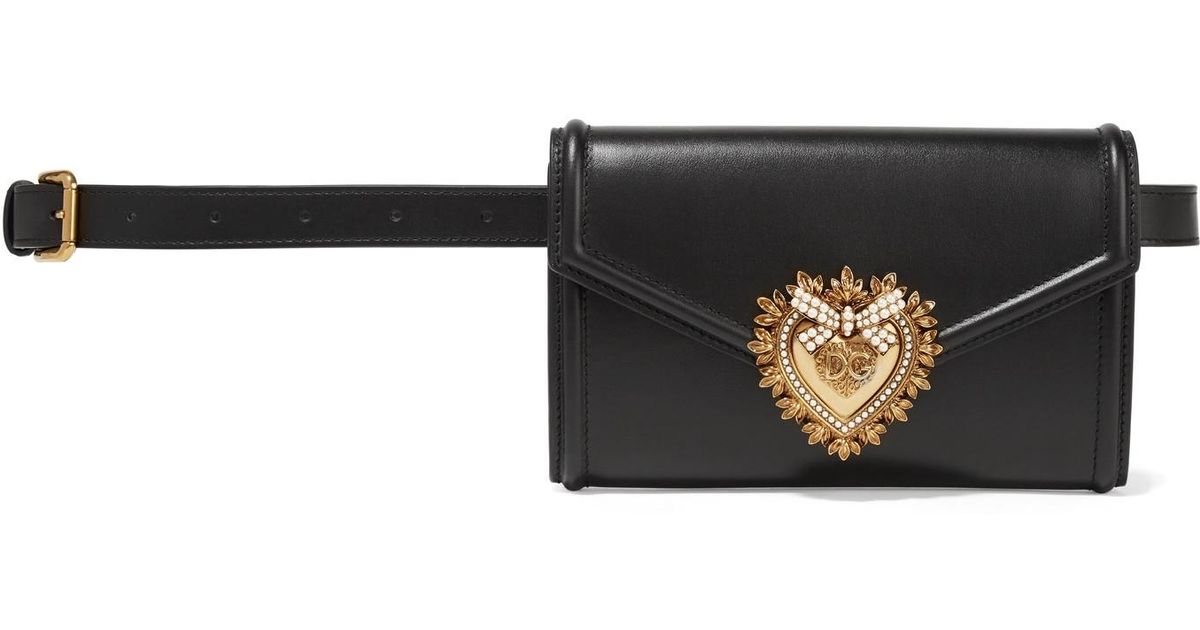 63247672138 Dolce & Gabbana - Black Devotion Embellished Leather Belt Bag - Lyst