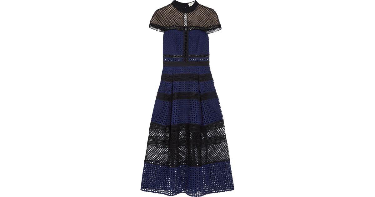 940f503c2f2b Lyst - Self-Portrait Paneled Guipure Lace Dress in Blue