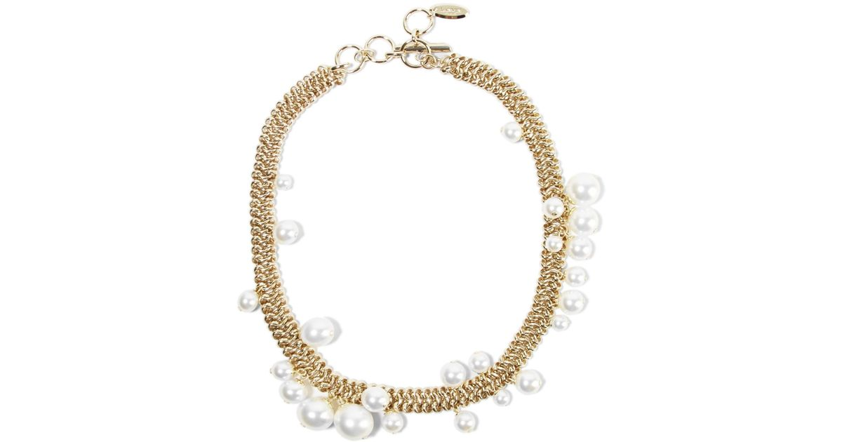 pearl unknown necklace gold faux oversized i ivory tradesy