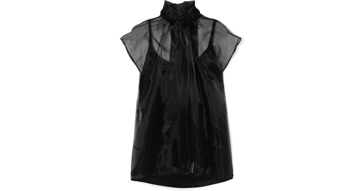 5e3f89d1801bfc Prada Pussy-bow Silk-organza Blouse in Black - Lyst