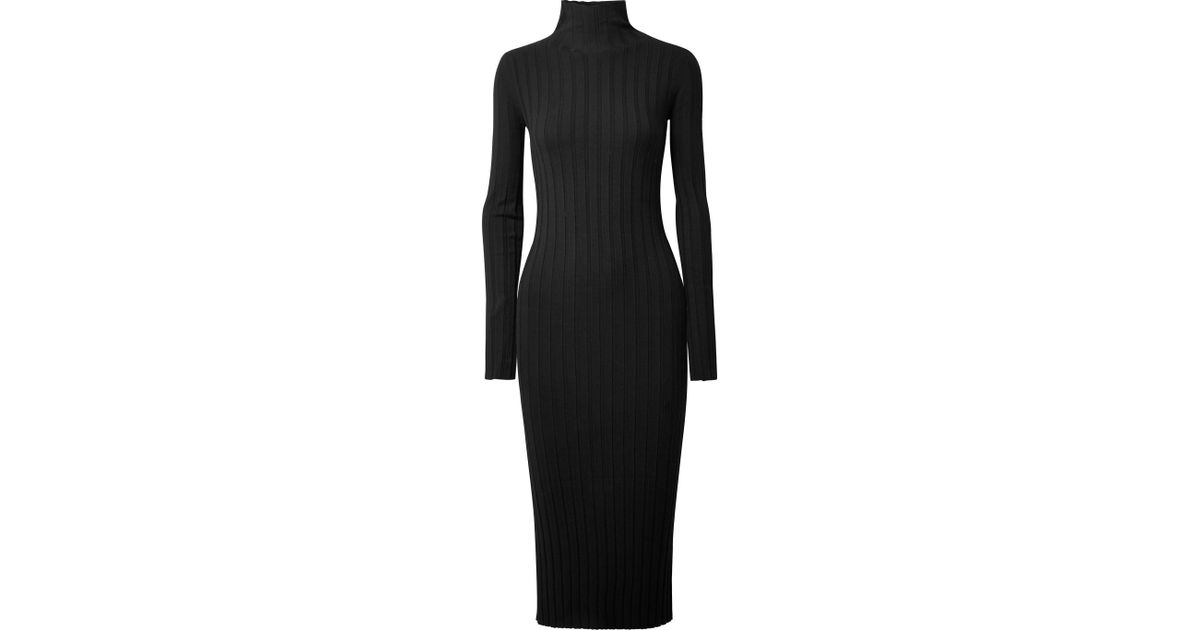 be600323825 Theory Woman Ribbed-knit Turtleneck Midi Dress Black in Black - Save 60% -  Lyst