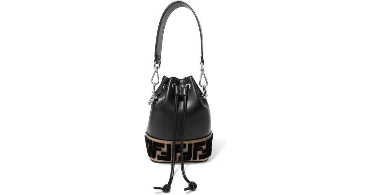 d52f88a390fb Lyst - Fendi Montresor Mini Flocked Leather Bucket Bag in Black