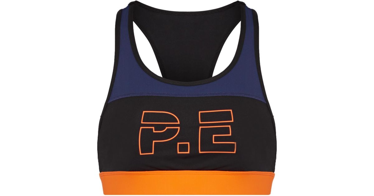 For The Count Color-block Printed Stretch Sports Bra - Black P.E Nation Where Can You Find c4Biga