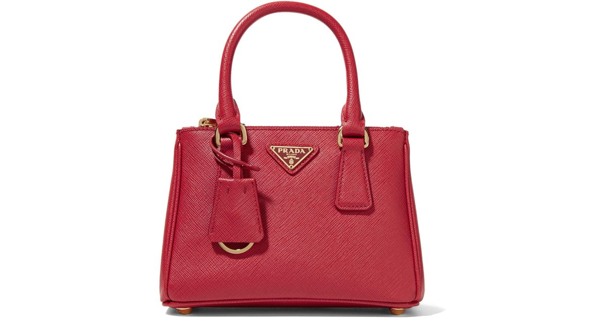 b703bde4af8017 Prada Galleria Baby Textured-Leather Tote in Red - Lyst