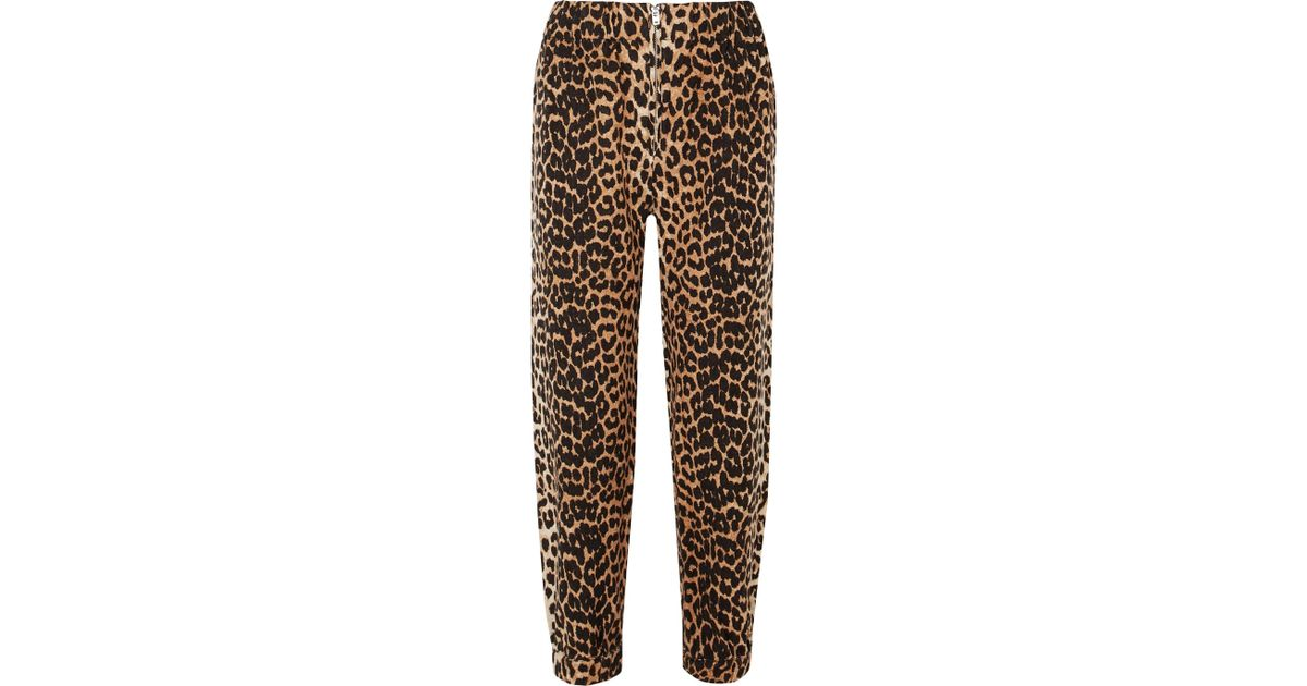 84078ade Ganni Camberwell Leopard-print Linen And Cotton-blend Canvas Tapered Pants  in Brown - Lyst