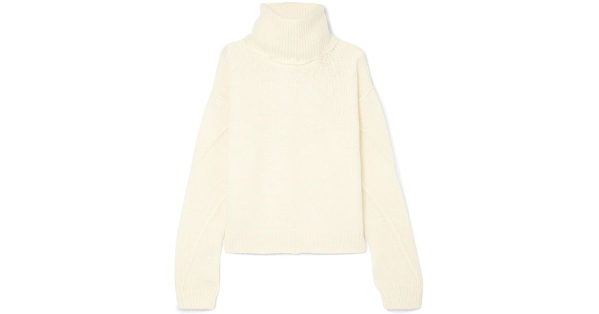 c68c3da626 Tory Burch Eva Convertible Oversized Wool-blend Turtleneck Sweater in White  - Lyst
