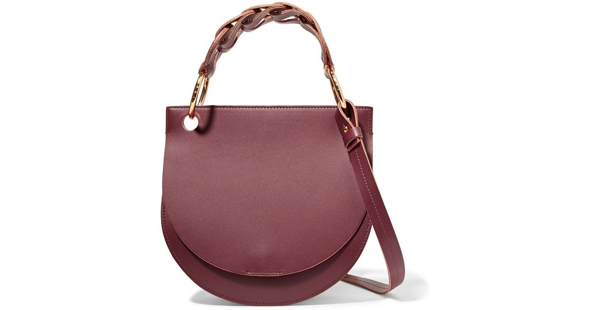 Pebble Leather And Suede Shoulder Bag - Burgundy Marni GJoHG