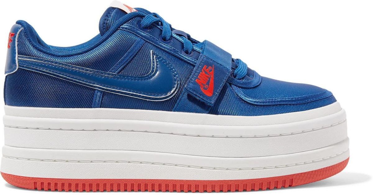9c475c42f539 Lyst - Nike Vandal 2k Faux Leather-trimmed Metallic Faille Platform  Sneakers in Blue