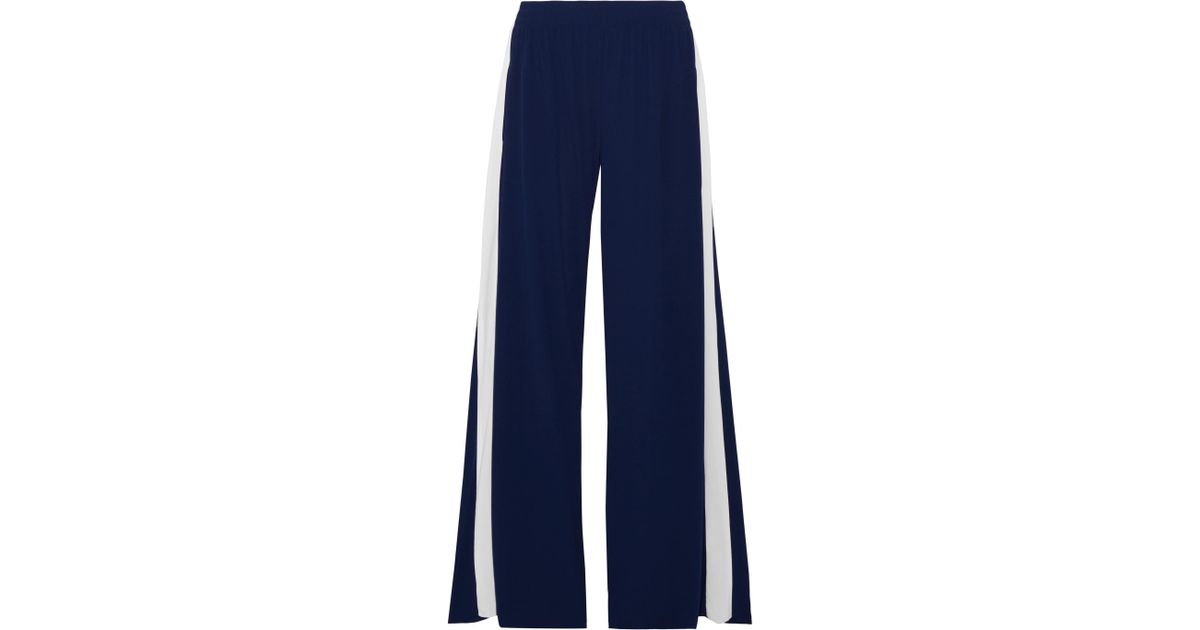 e01634064d29a Norma Kamali Striped Stretch-jersey Wide-leg Pants in Blue - Lyst