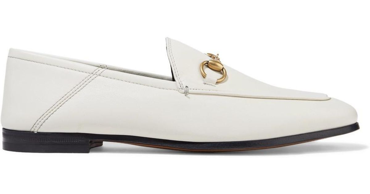 d392d091ad9f Lyst - Gucci Brixton Collapsible Leather Loafers in White - Save 12%