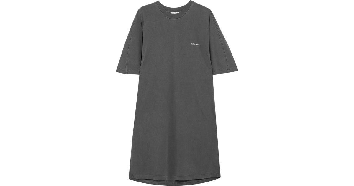 e2ff9cba5cf Balenciaga Oversized Cotton-jersey Dress in Gray - Lyst
