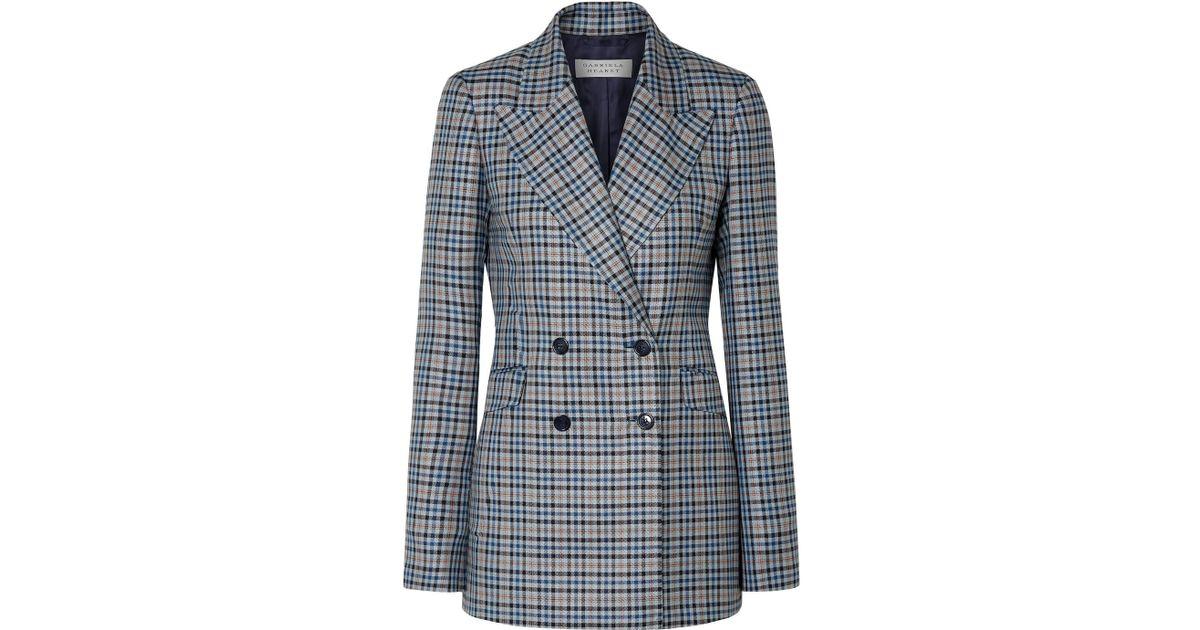 Angela Checked Silk And Wool-blend Blazer - Navy Gabriela Hearst Discount Codes Clearance Store bynYEXJ