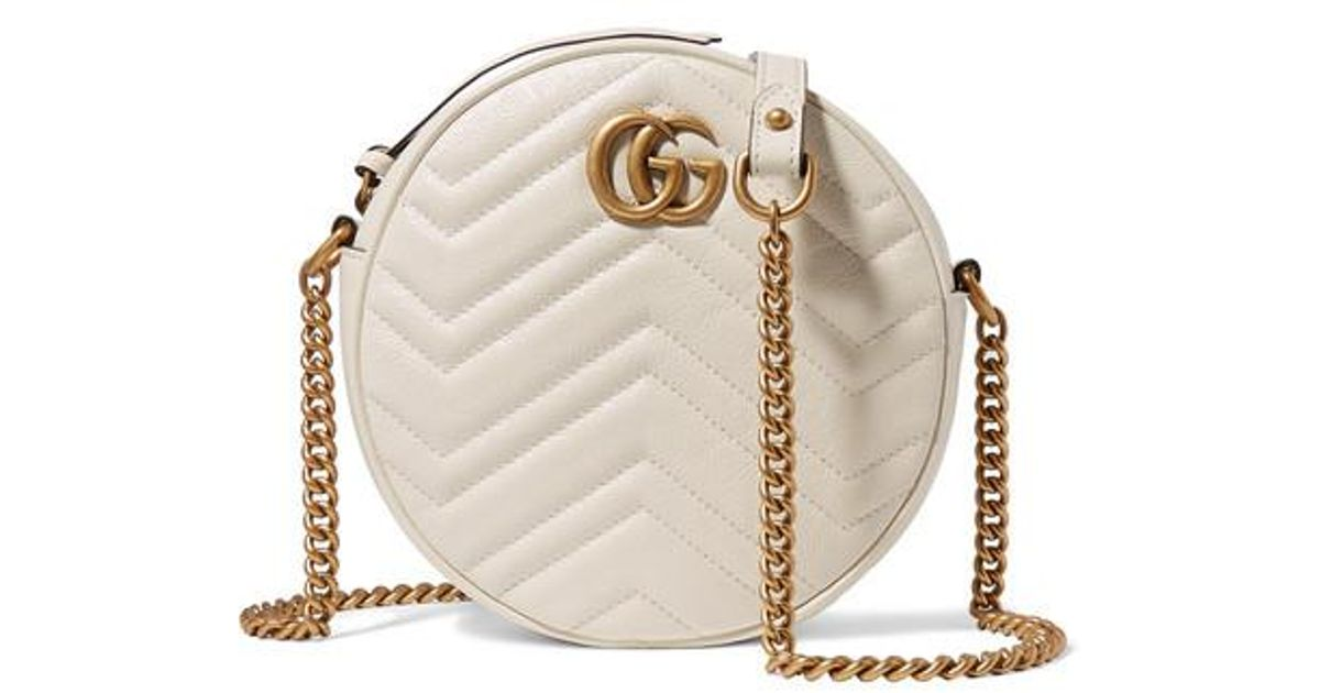 d700def738c7 Gucci Gg Marmont Circle Quilted Leather Shoulder Bag in White - Lyst