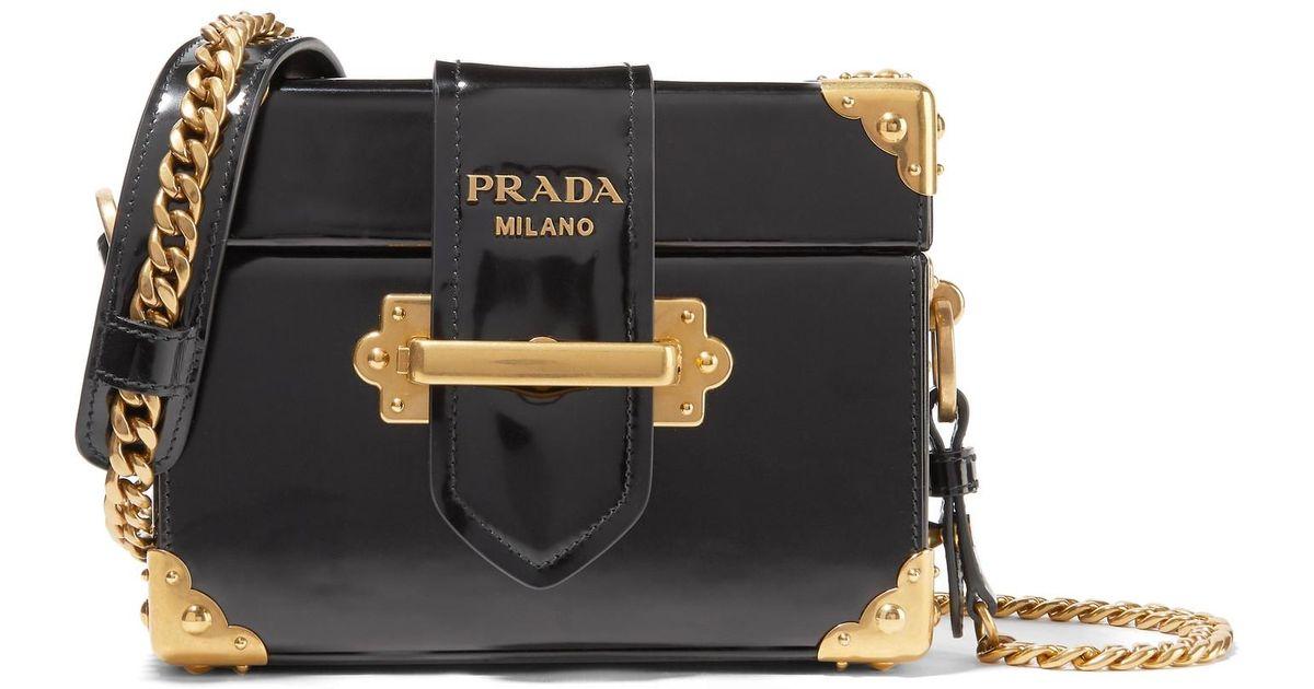 0a1b147540c0 Lyst - Prada Cahier Box Patent-leather Shoulder Bag in Black