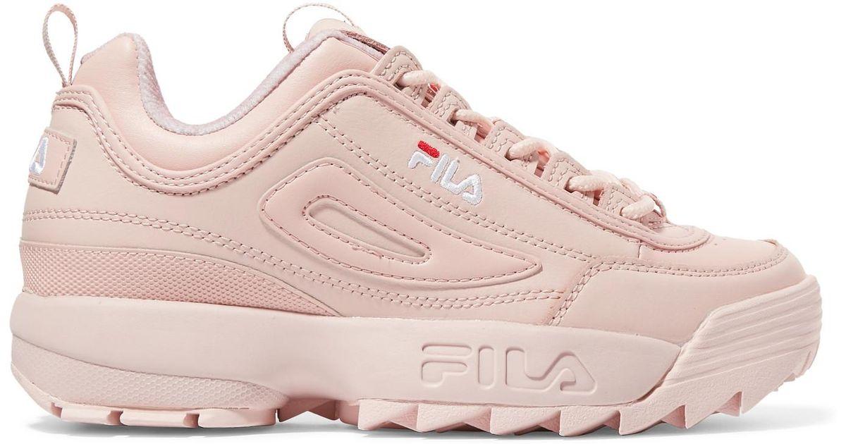 801aae1da70d Fila Disruptor Ii Premium Logo-embroidered Leather Sneakers in Pink - Lyst