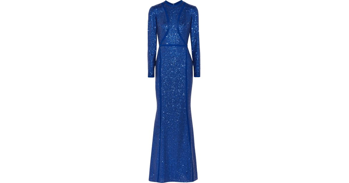 Sequined Silk-blend Tulle Gown - Blue Elie Saab Sale New Styles Excellent Online Enjoy Cheap Online eTEdBkp1Z