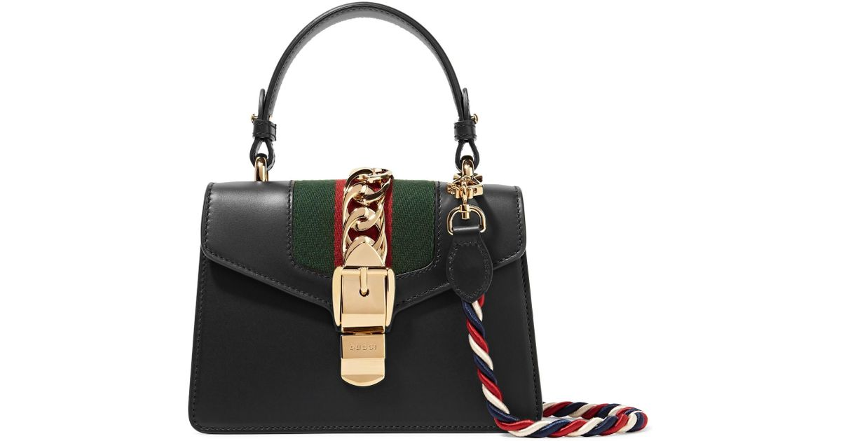 3421cd915dc8 Gucci Sylvie Mini Chain-trimmed Leather And Canvas Shoulder Bag in Black -  Lyst
