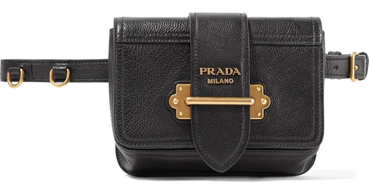 ea5e884e3c5b ... where to buy lyst prada cahier textured leather belt bag in black 411ba  aa16e