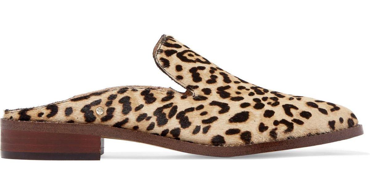 946b053e4 Sam Edelman Crystal-embellished Leopard-print Calf Hair Slippers in Brown -  Lyst