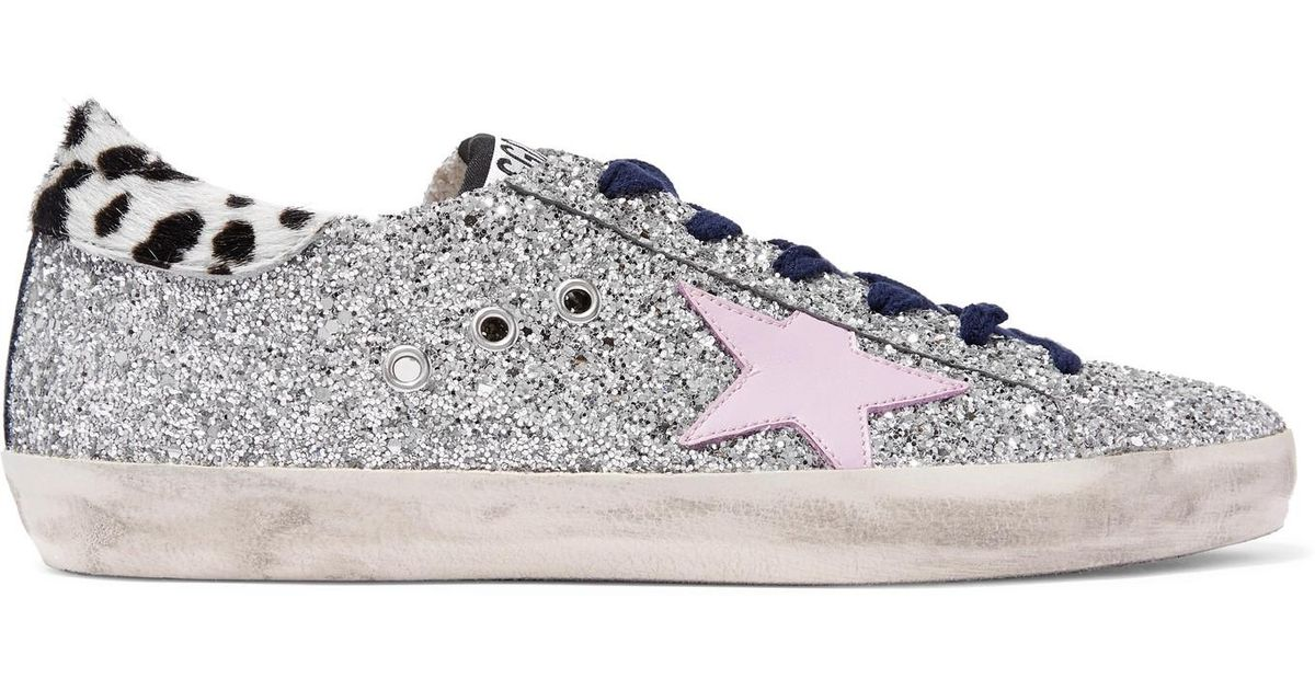 aa0606253932 Lyst - Golden Goose Deluxe Brand Superstar Calf Hair-trimmed Distressed  Glittered Leather Sneakers in Metallic