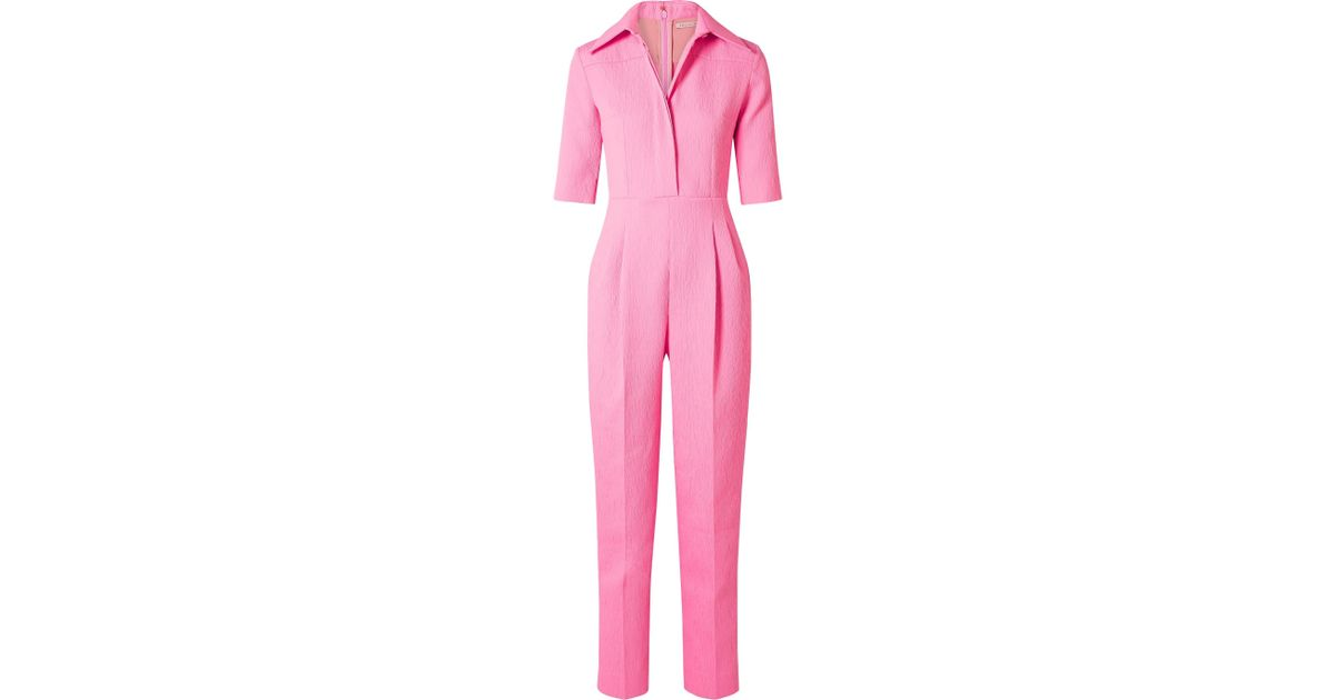 8a23502daf Lyst - Emilia Wickstead Brice Seersucker Jumpsuit in Pink