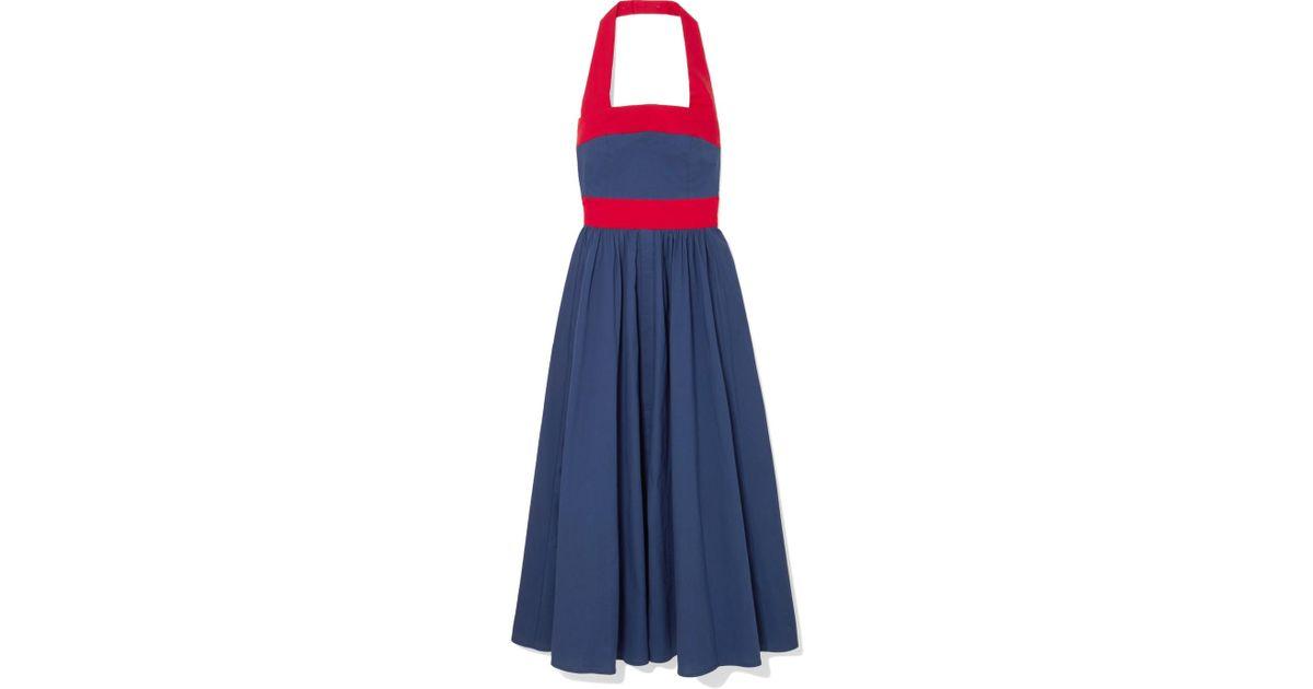 Waikiki Two-tone Poplin Halterneck Dress - Blue Staud fidIL