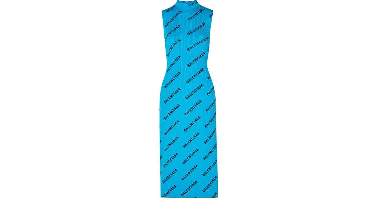 66248a854d5 Lyst - Balenciaga Wrap-effect Printed Ribbed-knit Midi Dress in Blue