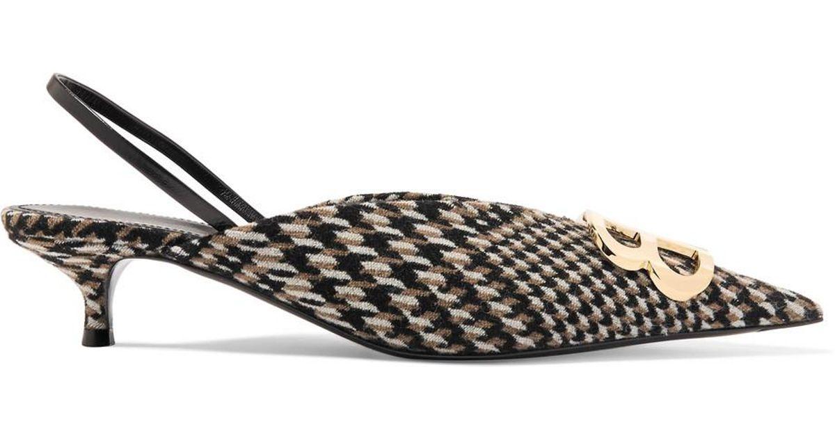 Logo-embellished Prince Of Wales Tweed Slingback Pumps - Brown Balenciaga KWbkpD