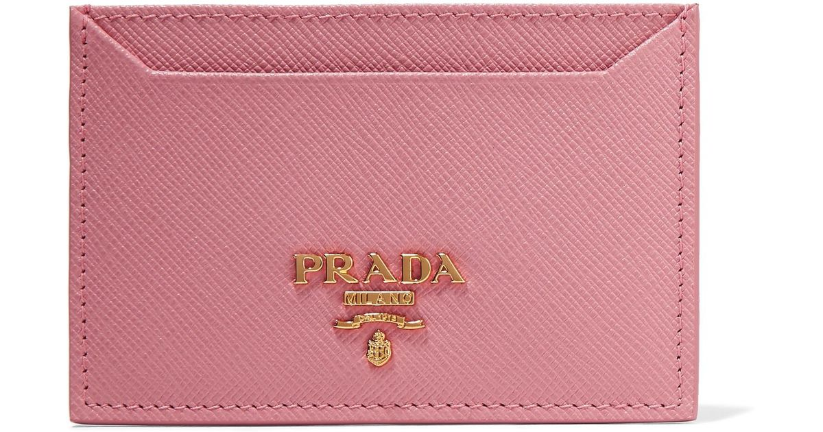 Printed Textured-leather Cardholder - Pink Prada nIqFUPsscX