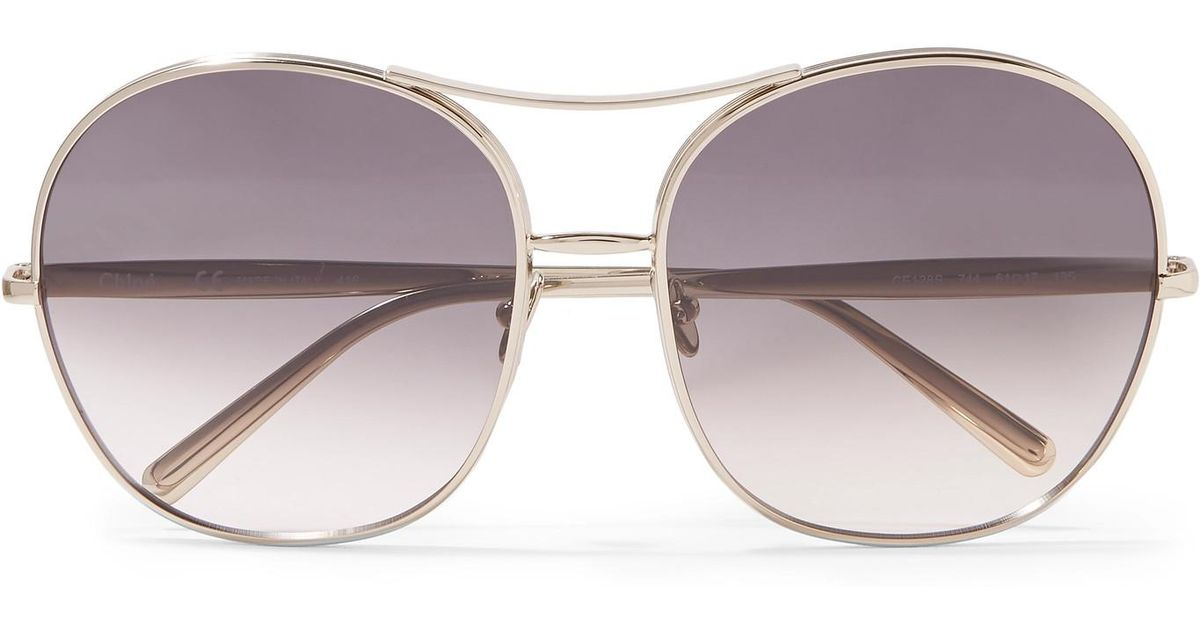 89e226f0dc68 Lyst - Chloé Nola Oversized Square-frame Gold-tone Sunglasses Gold One Size  in Metallic