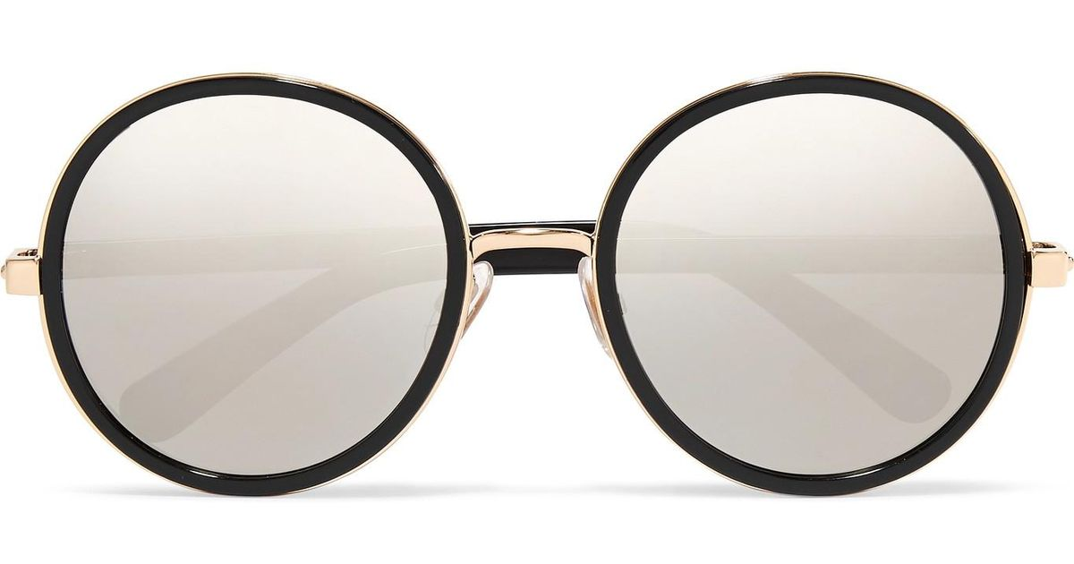 145dc16af93 Lyst - Jimmy Choo Andie Round-frame Glittered Acetate Mirrored Sunglasses  in Black
